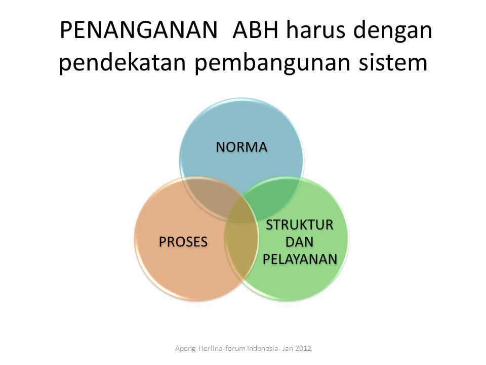PENANGANAN ABH harus dengan pendekatan pembangunan sistem