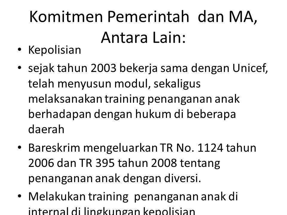 Komitmen Pemerintah dan MA, Antara Lain: