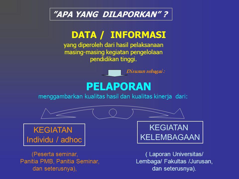 PELAPORAN DATA / INFORMASI APA YANG DILAPORKAN KEGIATAN KEGIATAN