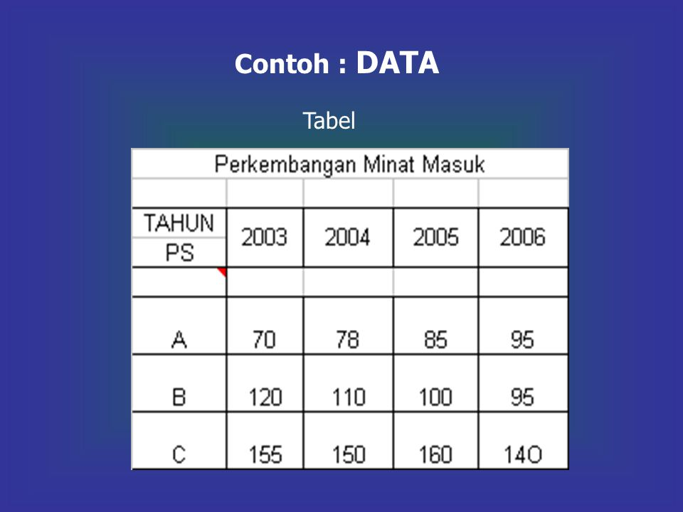 Contoh : DATA Tabel
