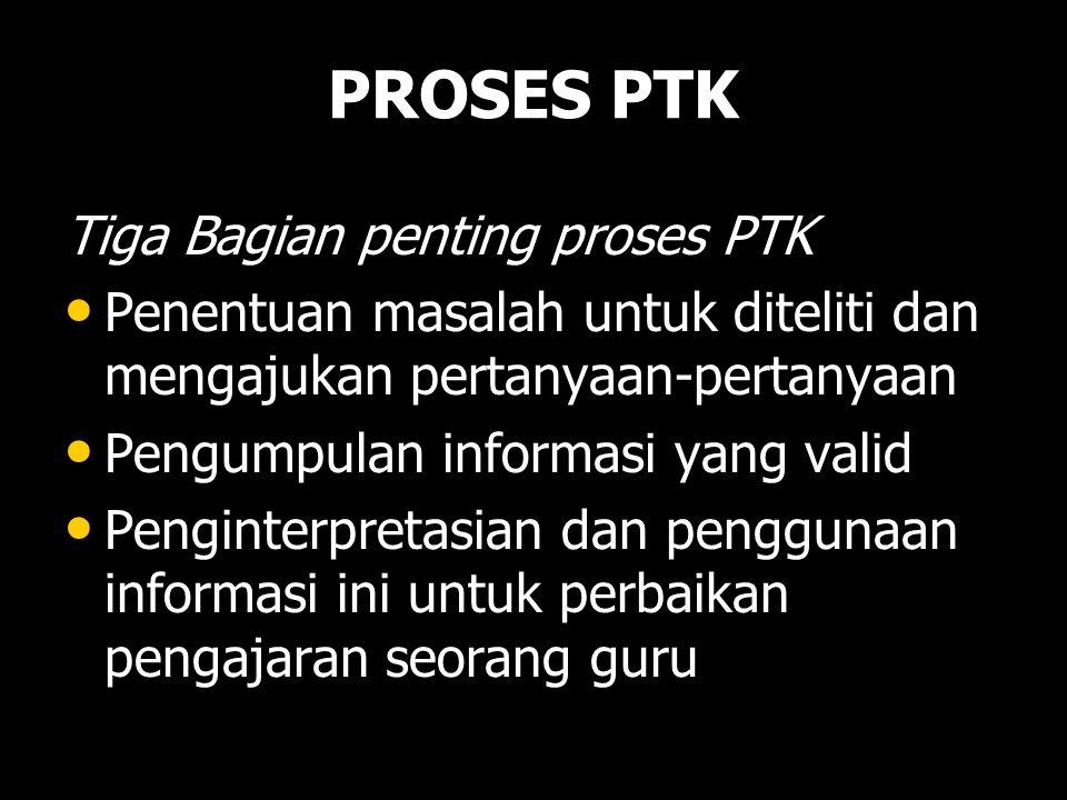 PROSES PTK Tiga Bagian penting proses PTK