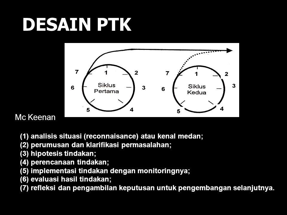 DESAIN PTK Mc Keenan. (1) analisis situasi (reconnaisance) atau kenal medan; (2) perumusan dan klarifikasi permasalahan;