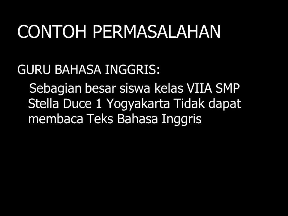CONTOH PERMASALAHAN GURU BAHASA INGGRIS: Sebagian besar siswa kelas VIIA SMP Stella Duce 1 Yogyakarta Tidak dapat membaca Teks Bahasa Inggris