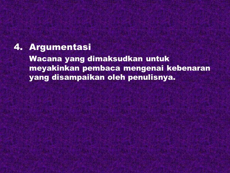 Argumentasi Wacana yang dimaksudkan untuk meyakinkan pembaca mengenai kebenaran yang disampaikan oleh penulisnya.