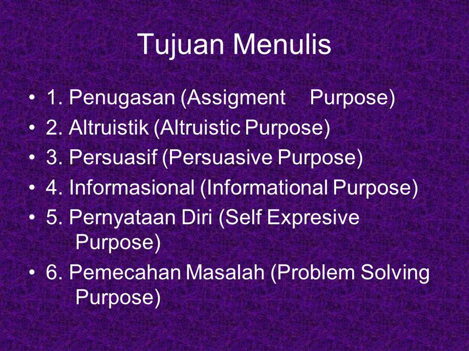 Tujuan Menulis 1. Penugasan (Assigment Purpose)