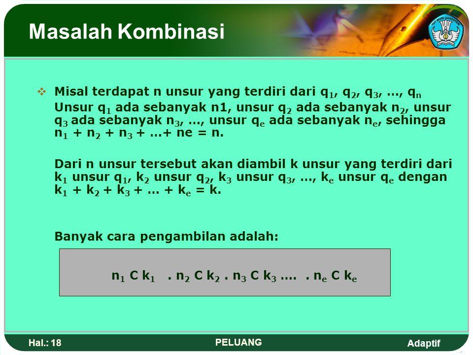 Masalah Kombinasi Misal terdapat n unsur yang terdiri dari q1, q2, q3, …, qn.