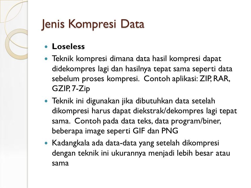 Jenis Kompresi Data Loseless