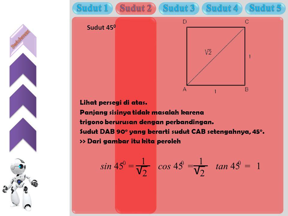 _ _ √ √ Sudut 1 Sudut 2 Sudut 3 Sudut 4 Sudut 5 1 1 sin 45 = cos 45 =