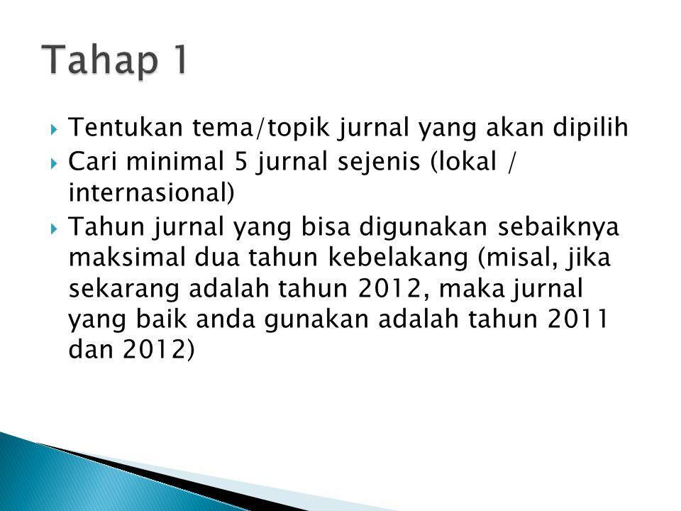 Tahap 1 Tentukan tema/topik jurnal yang akan dipilih