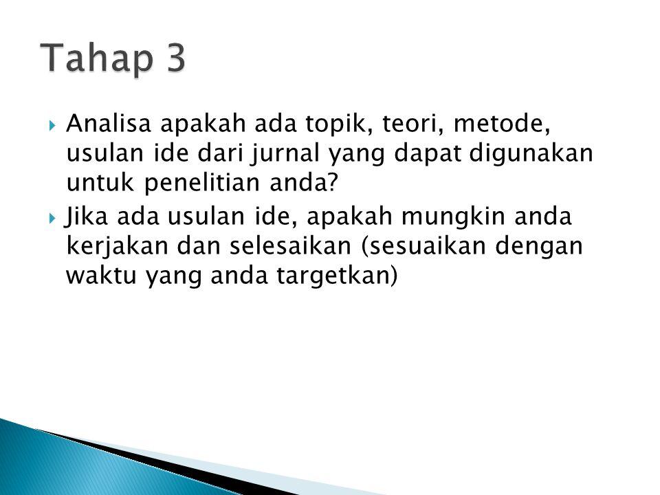 Tahap 3 Analisa apakah ada topik, teori, metode, usulan ide dari jurnal yang dapat digunakan untuk penelitian anda