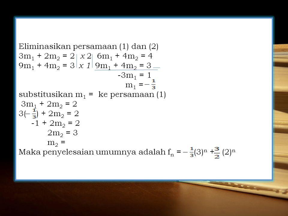 Eliminasikan persamaan (1) dan (2)