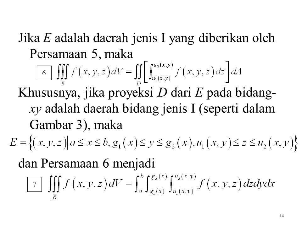 Jika E adalah daerah jenis I yang diberikan oleh Persamaan 5, maka