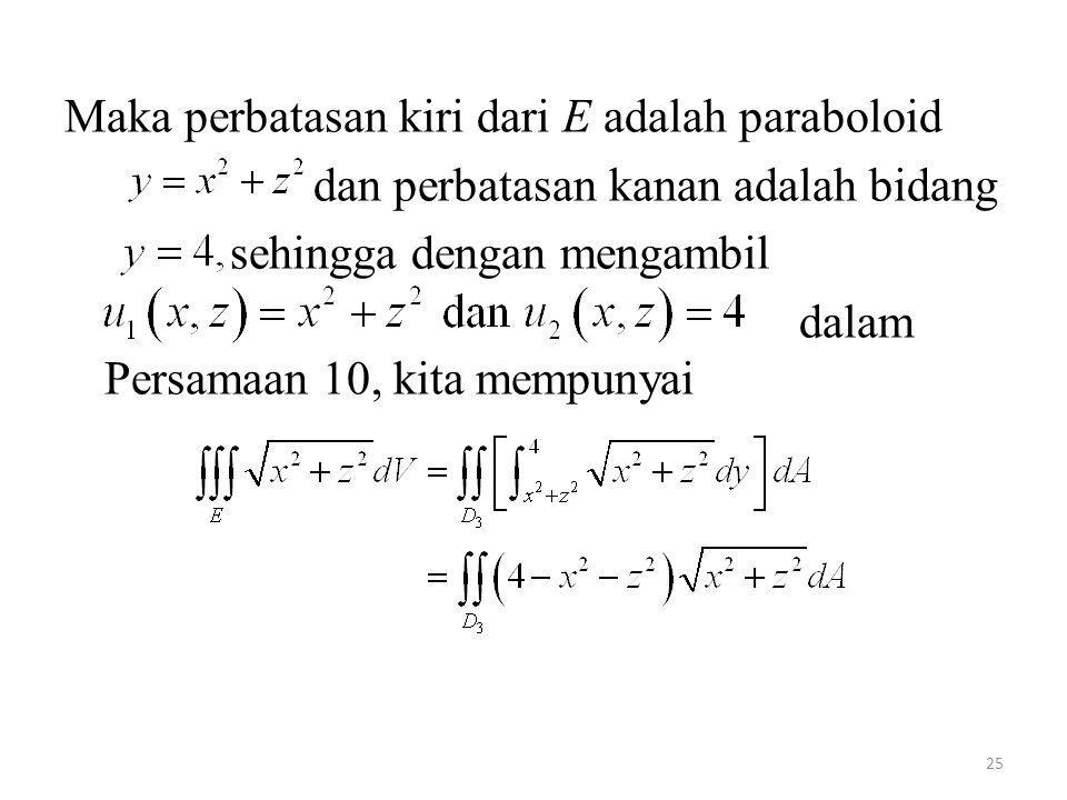 Maka perbatasan kiri dari E adalah paraboloid