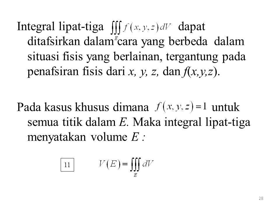 Integral lipat-tiga dapat ditafsirkan dalam cara yang berbeda dalam situasi fisis yang berlainan, tergantung pada penafsiran fisis dari x, y, z, dan f(x,y,z).