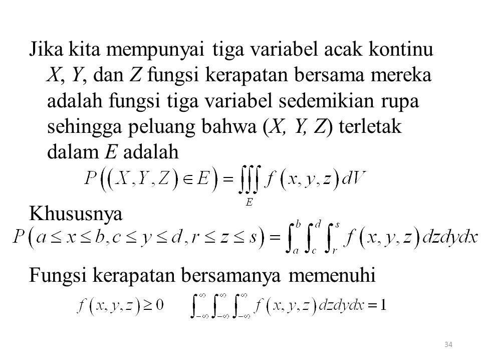 Jika kita mempunyai tiga variabel acak kontinu X, Y, dan Z fungsi kerapatan bersama mereka adalah fungsi tiga variabel sedemikian rupa sehingga peluang bahwa (X, Y, Z) terletak dalam E adalah