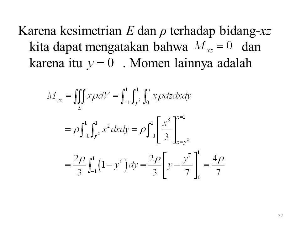 Karena kesimetrian E dan ρ terhadap bidang-xz kita dapat mengatakan bahwa dan karena itu .