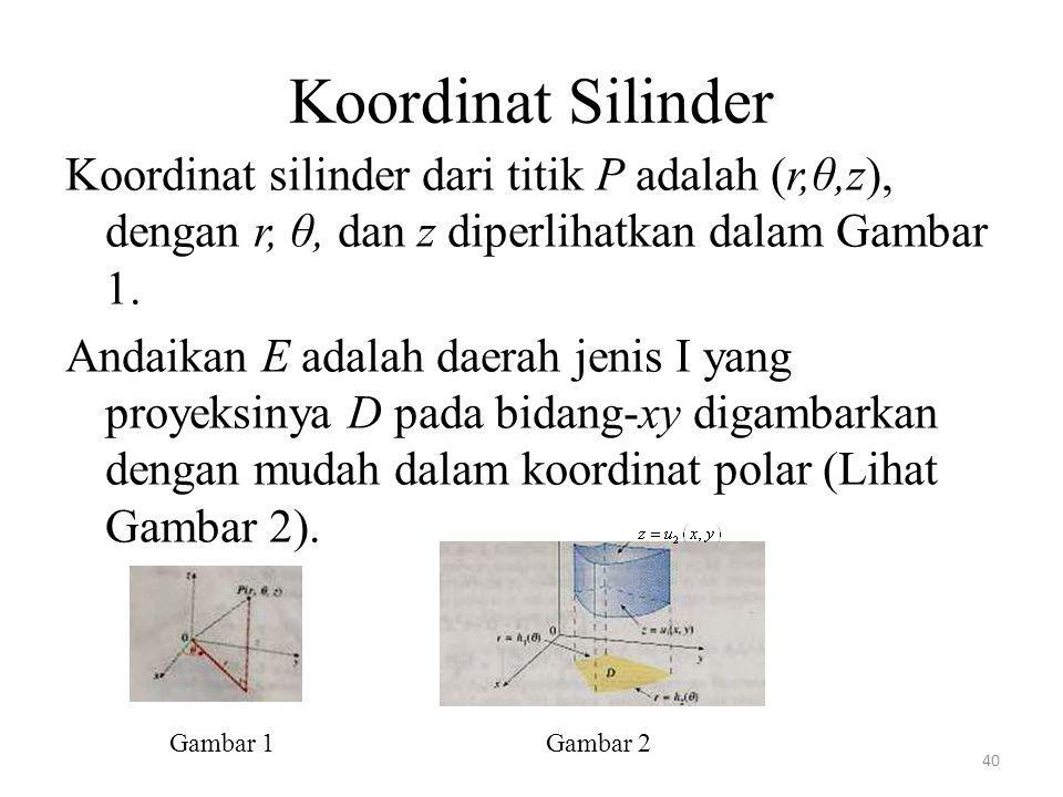Koordinat Silinder Koordinat silinder dari titik P adalah (r,θ,z), dengan r, θ, dan z diperlihatkan dalam Gambar 1.