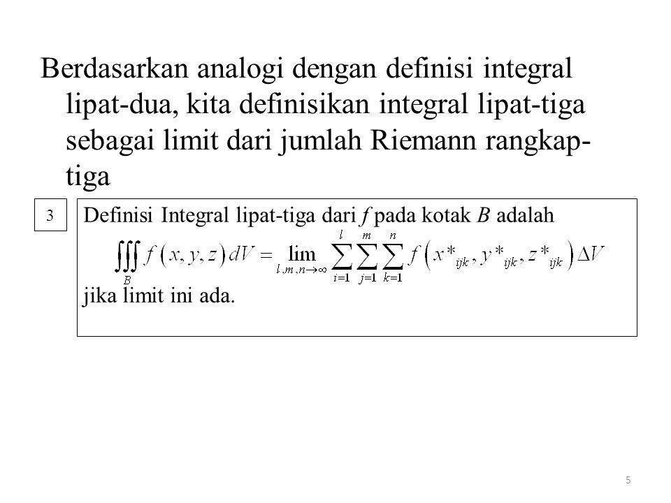 Berdasarkan analogi dengan definisi integral lipat-dua, kita definisikan integral lipat-tiga sebagai limit dari jumlah Riemann rangkap-tiga