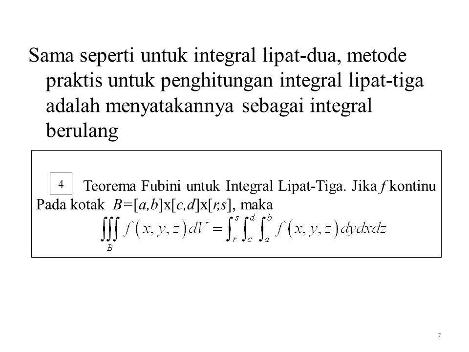 Sama seperti untuk integral lipat-dua, metode praktis untuk penghitungan integral lipat-tiga adalah menyatakannya sebagai integral berulang