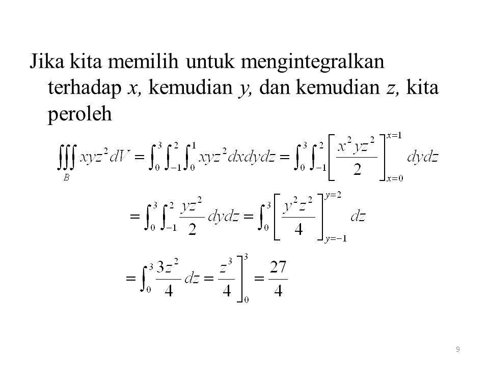 Jika kita memilih untuk mengintegralkan terhadap x, kemudian y, dan kemudian z, kita peroleh