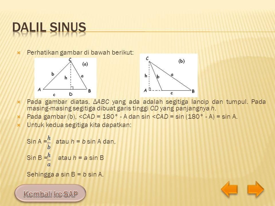 Dalil Sinus Kembali ke SAP Perhatikan gambar di bawah berikut: