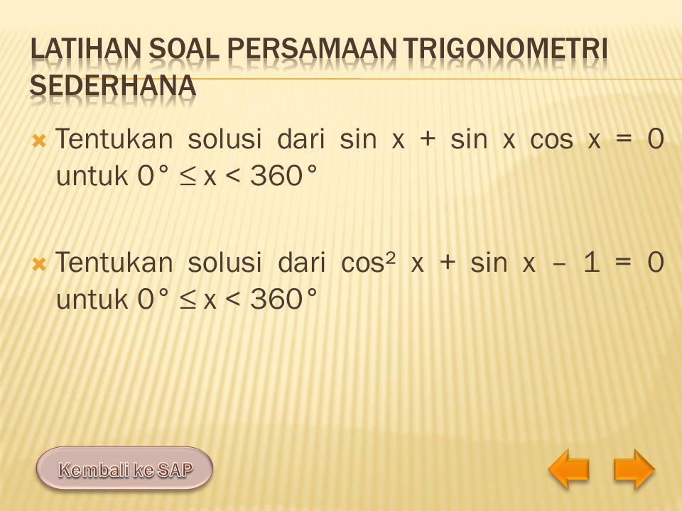 Latihan soal persamaan trigonometri sederhana