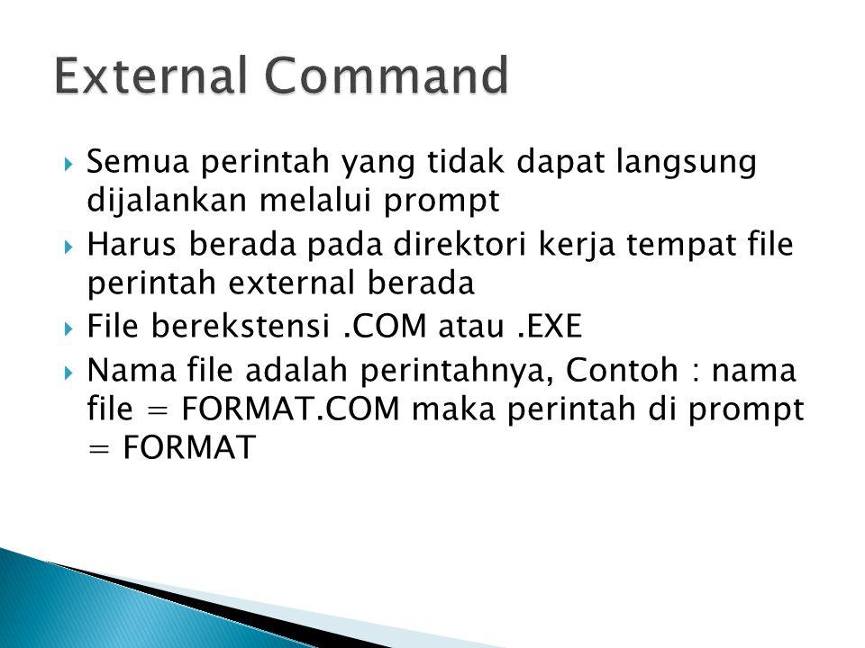 External Command Semua perintah yang tidak dapat langsung dijalankan melalui prompt.