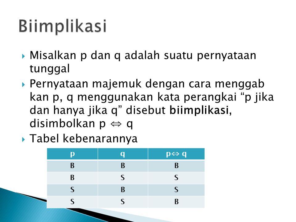 Biimplikasi Misalkan p dan q adalah suatu pernyataan tunggal