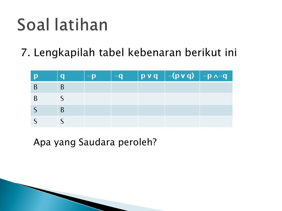Soal latihan 7. Lengkapilah tabel kebenaran berikut ini