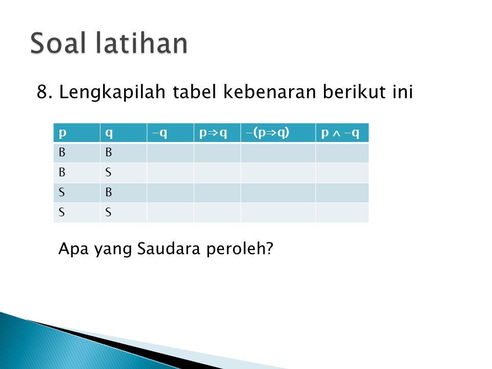 Soal latihan 8. Lengkapilah tabel kebenaran berikut ini