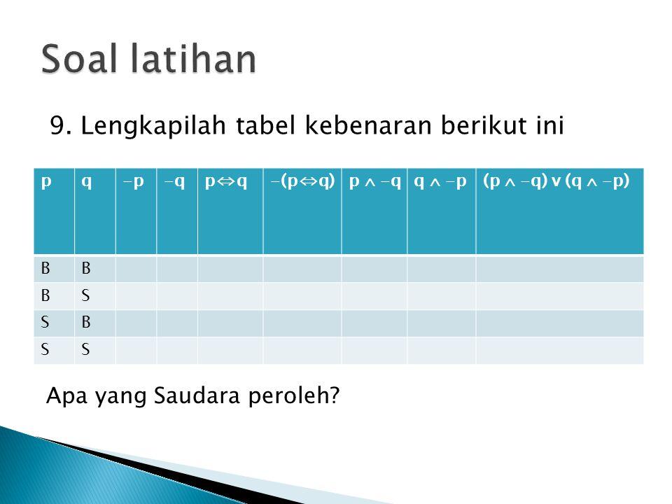 Soal latihan 9. Lengkapilah tabel kebenaran berikut ini