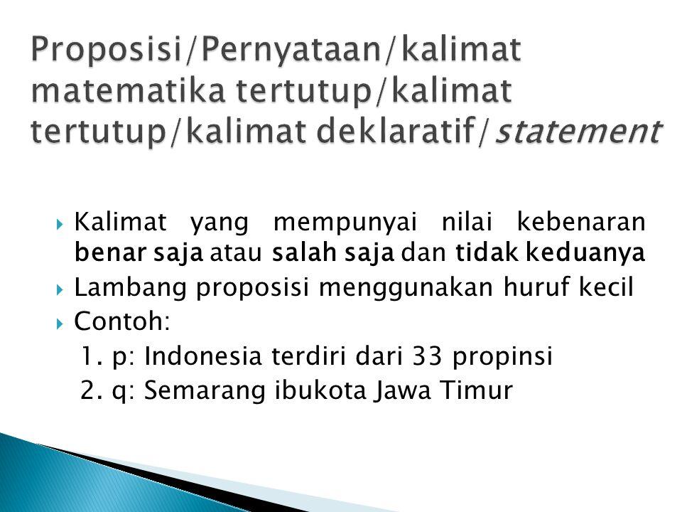 Proposisi/Pernyataan/kalimat matematika tertutup/kalimat tertutup/kalimat deklaratif/statement