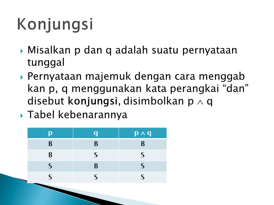 Konjungsi Misalkan p dan q adalah suatu pernyataan tunggal
