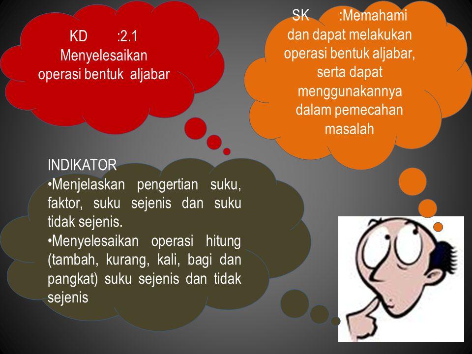 KD :2.1 Menyelesaikan operasi bentuk aljabar