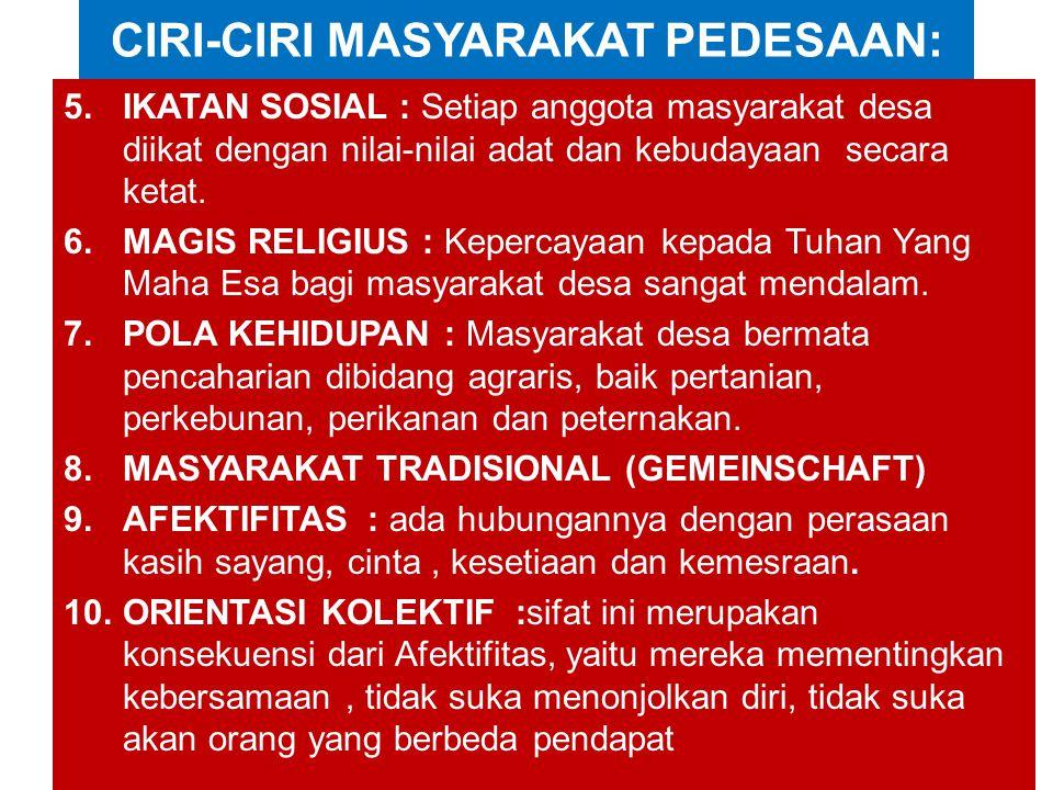 CIRI-CIRI MASYARAKAT PEDESAAN: