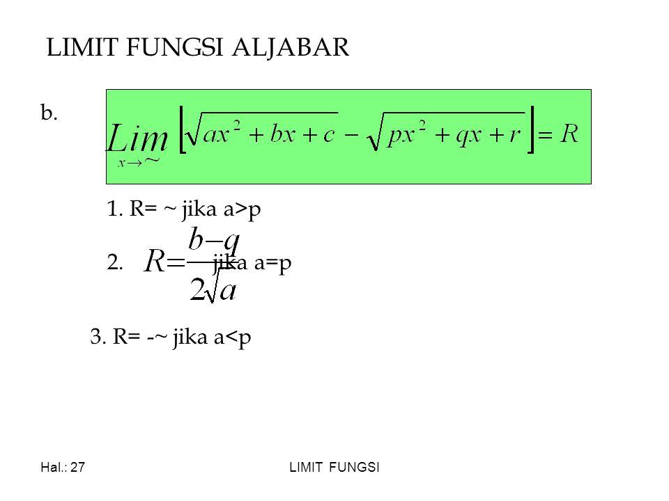LIMIT FUNGSI ALJABAR b. 1. R= ~ jika a>p 2. jika a=p