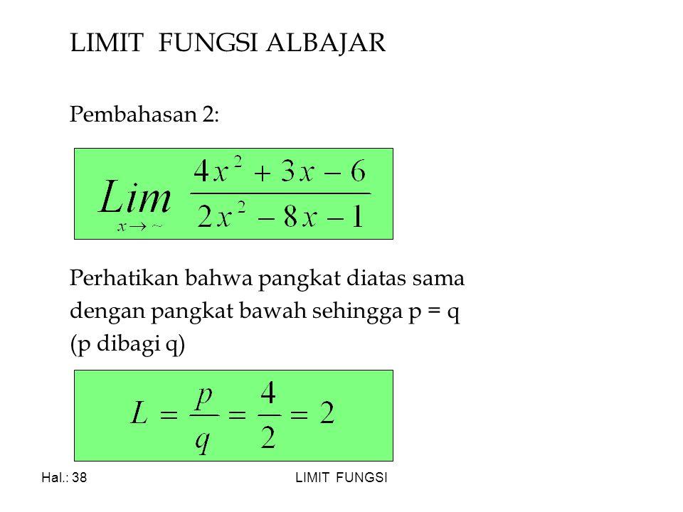 LIMIT FUNGSI ALBAJAR Pembahasan 2: