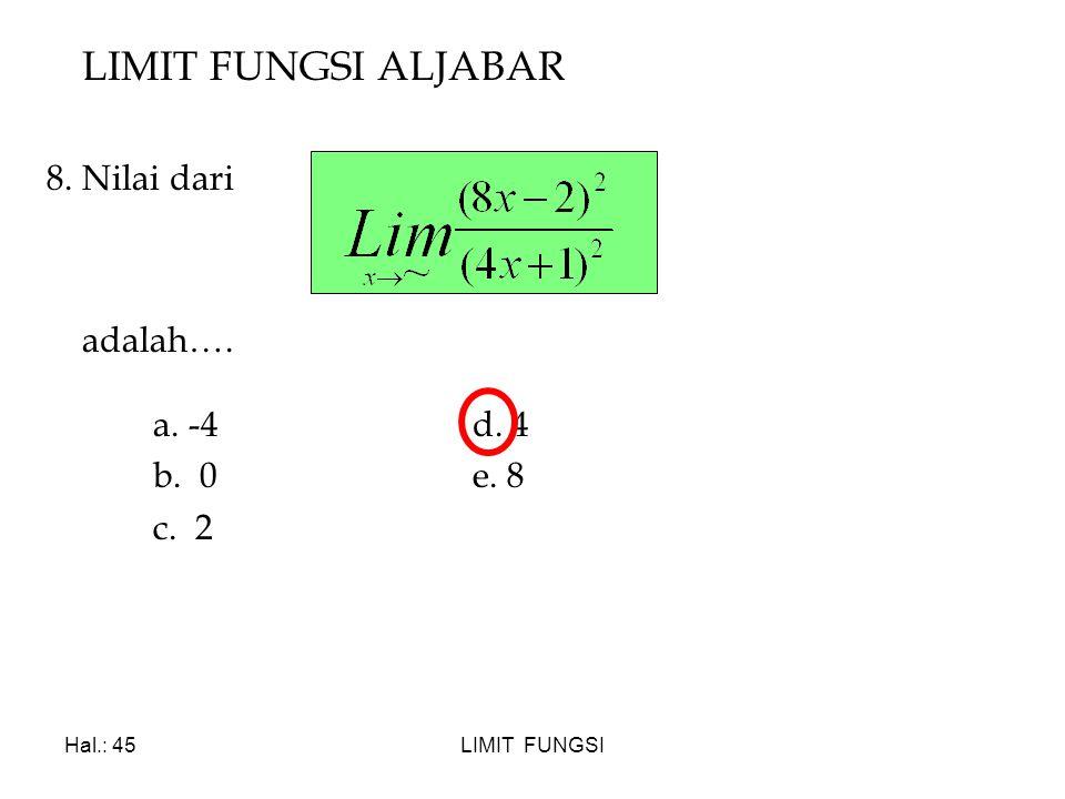 LIMIT FUNGSI ALJABAR 8. Nilai dari adalah…. a. -4 d. 4 b. 0 e. 8 c. 2
