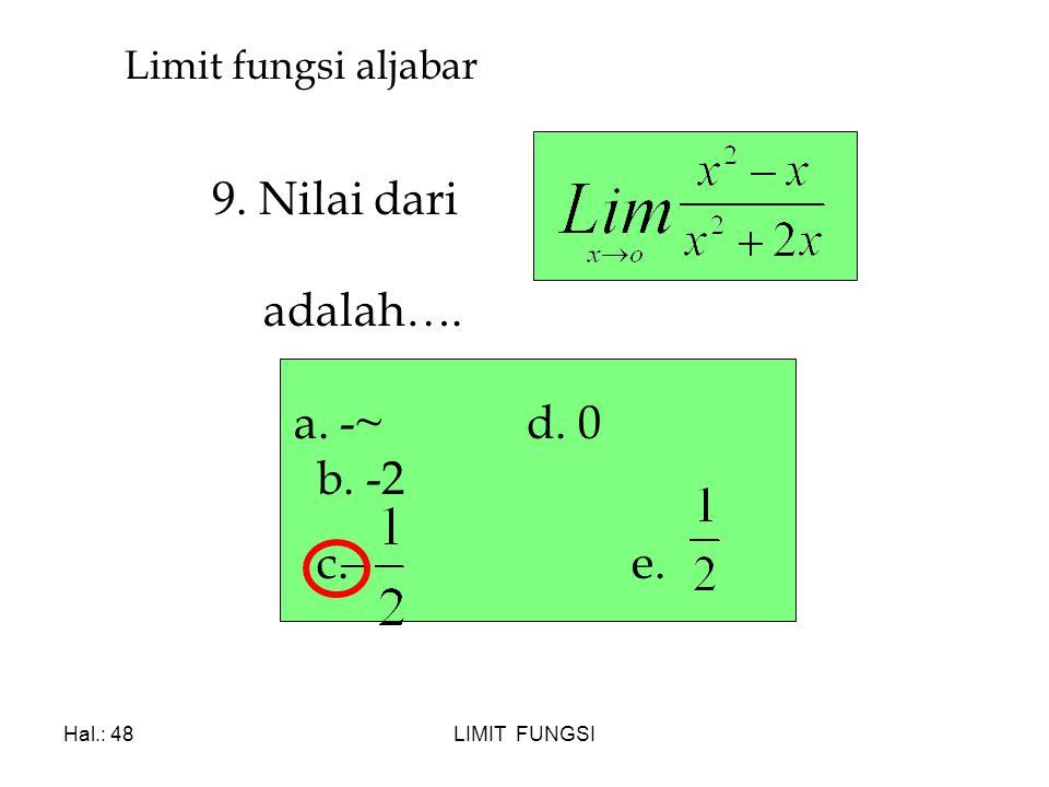 9. Nilai dari adalah…. a. -~ d. 0 b. -2 c. e. Limit fungsi aljabar