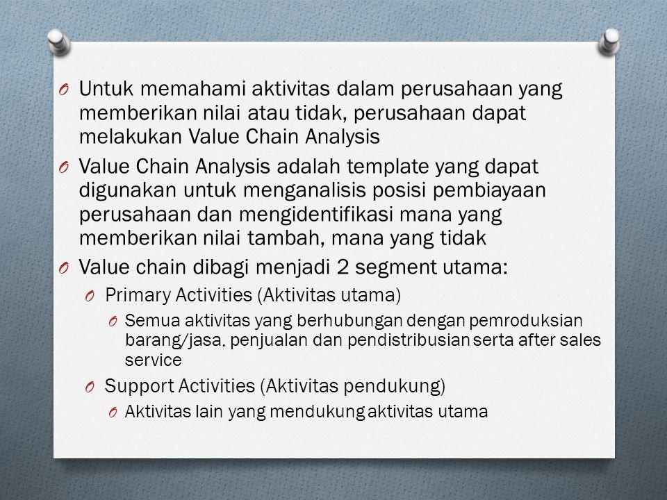Value chain dibagi menjadi 2 segment utama: