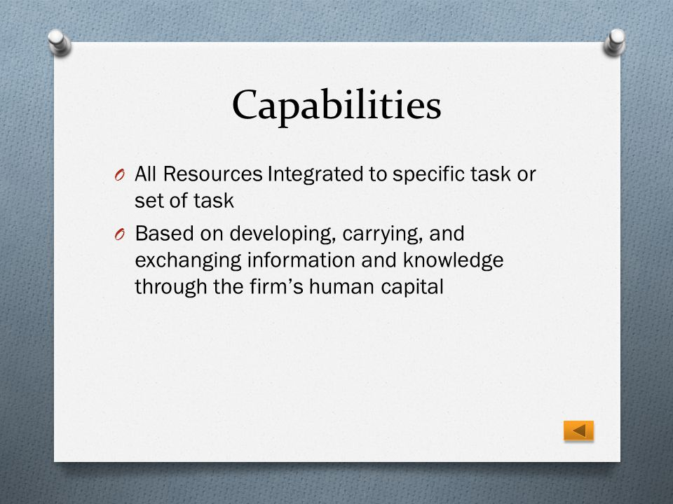 Capabilities All Resources Integrated to specific task or set of task
