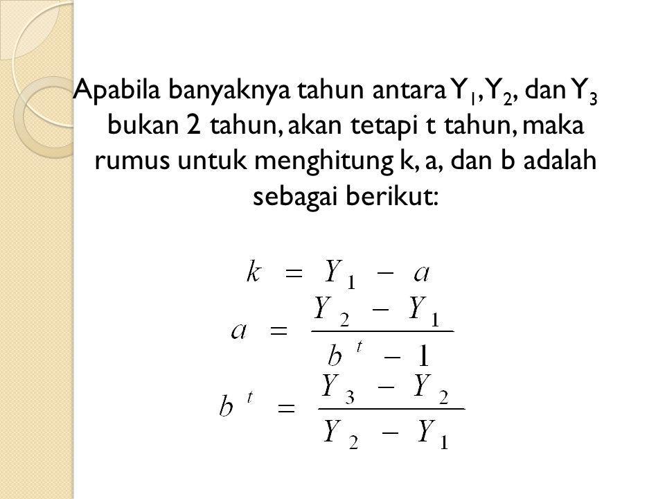 Apabila banyaknya tahun antara Y1, Y2, dan Y3 bukan 2 tahun, akan tetapi t tahun, maka rumus untuk menghitung k, a, dan b adalah sebagai berikut: