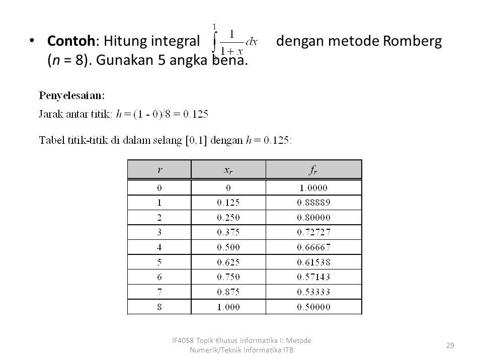 Contoh: Hitung integral dengan metode Romberg (n = 8)