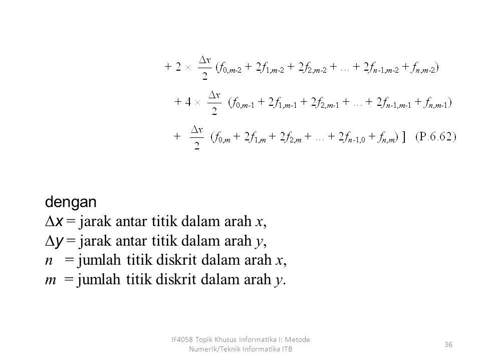 x = jarak antar titik dalam arah x,