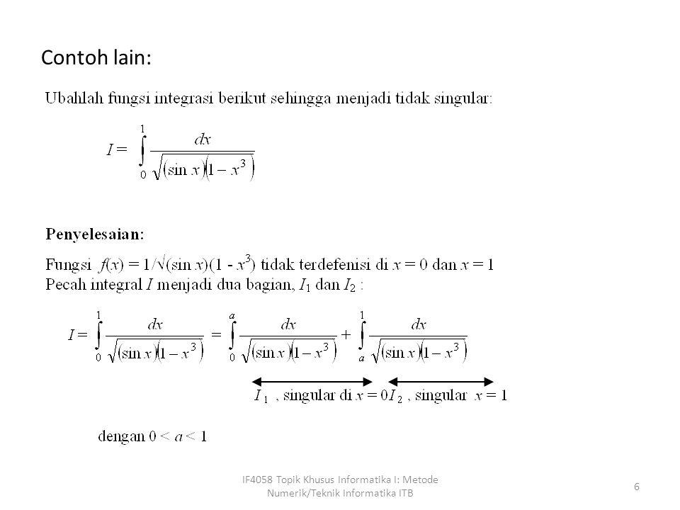 Contoh lain: IF4058 Topik Khusus Informatika I: Metode Numerik/Teknik Informatika ITB