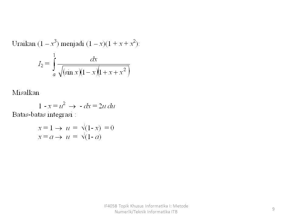 IF4058 Topik Khusus Informatika I: Metode Numerik/Teknik Informatika ITB
