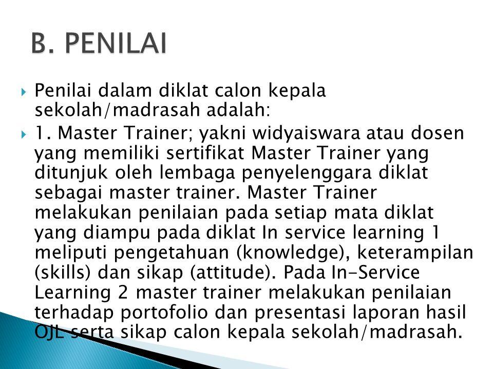 B. PENILAI Penilai dalam diklat calon kepala sekolah/madrasah adalah: