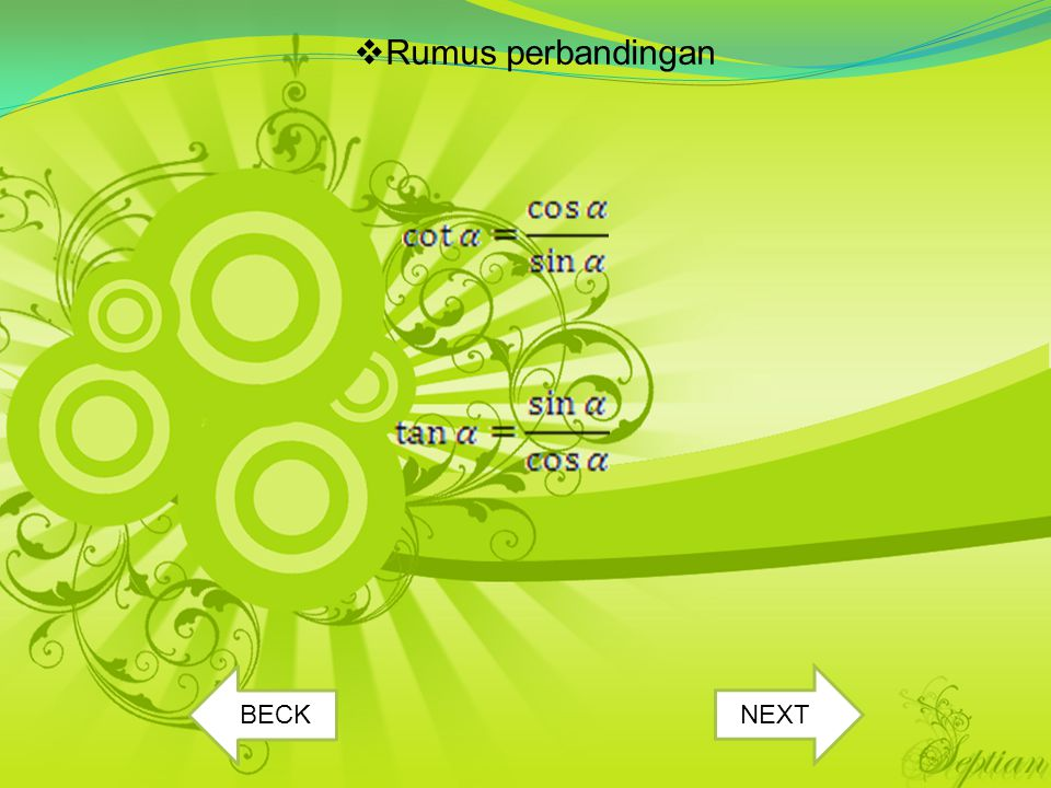 Rumus perbandingan BECK NEXT