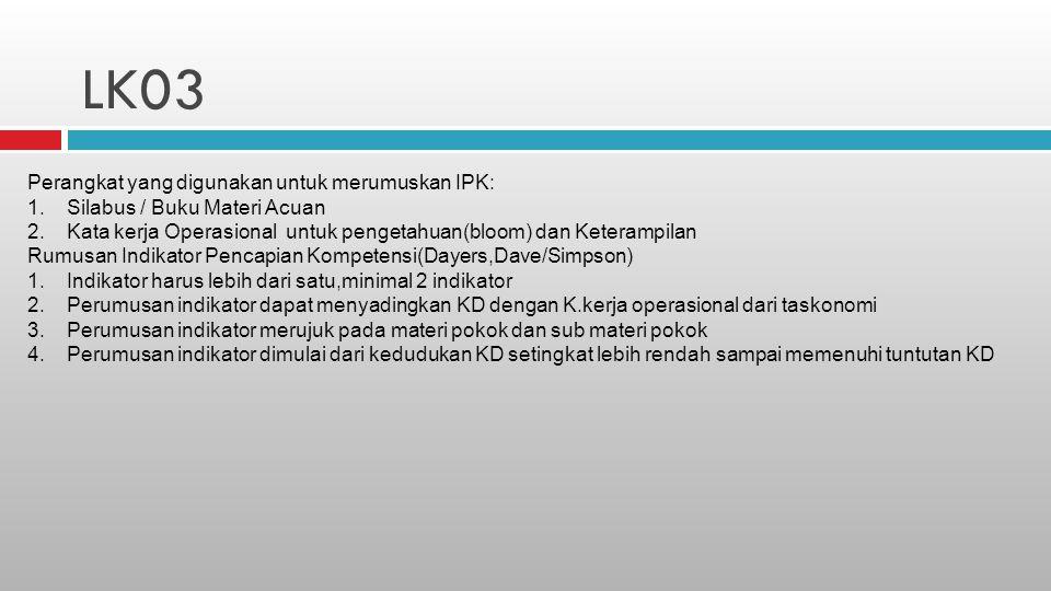 LK03 Perangkat yang digunakan untuk merumuskan IPK: