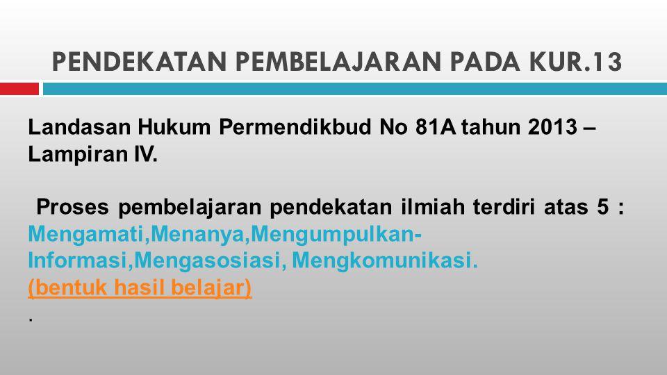 PENDEKATAN PEMBELAJARAN PADA KUR.13